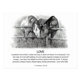 1 Corinthians 13: Love, Horses in Pencil Postcard