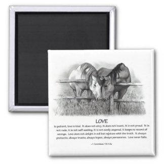 1 Corinthians 13: Love, Horses in Pencil Square Magnet