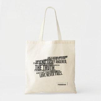 1 Corinthians 13, Love Never Fails! Tote Bag