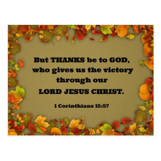 1 Corinthians 15:57 But thanks be to God, who... Postcard