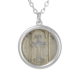 1 Corinthians 16:13  Faith Bible Verse Silver Plated Necklace