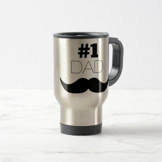 #1 Dad Black Mustache - Number One Travel Mug