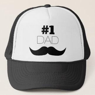 #1 Dad Black Mustache - Number One Trucker Hat