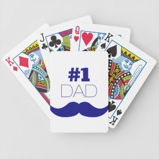 #1 Dad Blue Mustache - Number One Bicycle Playing Cards