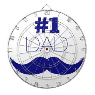 #1 Dad Blue Mustache - Number One Dartboard