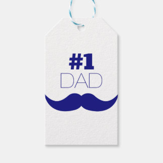 #1 Dad Blue Mustache - Number One Gift Tags