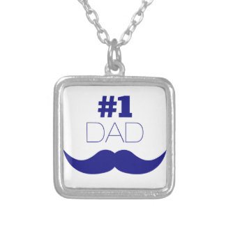 #1 Dad Blue Mustache - Number One Silver Plated Necklace