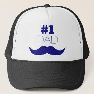 #1 Dad Blue Mustache - Number One Trucker Hat