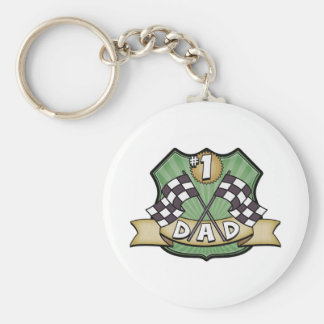#1 Dad Father's Day Race Fan Basic Round Button Keychain