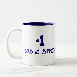 #1 dad of triplets Two-Tone coffee mug