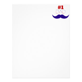#1 Dad Red White and Blue Mustache - Number One Letterhead