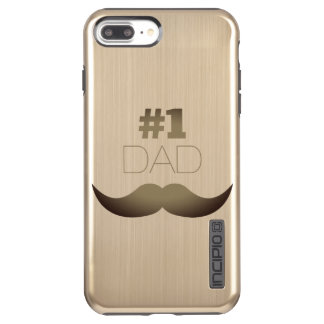 #1 Dad Rustic Gold Mustache - Number One Incipio DualPro Shine iPhone 8 Plus/7 Plus Case