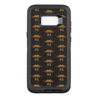 #1 Dad Rustic Gold Mustache - Number One OtterBox Defender Samsung Galaxy S8+ Case