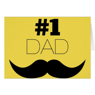 #1 Dad Yellow and Black Mustache - Number One Card