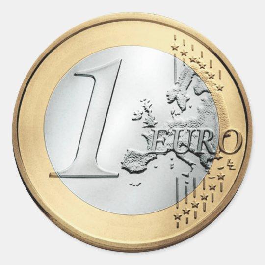 1 EURO Coin Classic Round Sticker