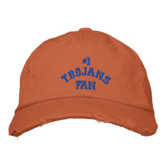 #1 Fan Burnt Orange and Blue Twill Cap Embroidered Hat