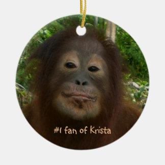 #1 fan of Krista Orangutan Ceramic Ornament