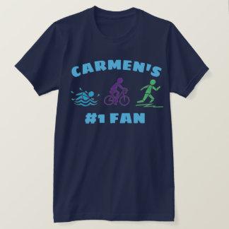 #1 Fan Personalized Triathlon Ironman Race Athlete T-Shirt