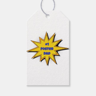 #1 Foster Dad Super Hero Design Gift Tags