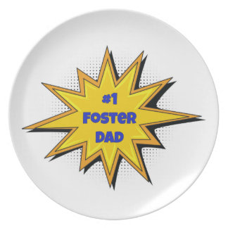 #1 Foster Dad Super Hero Design Plate