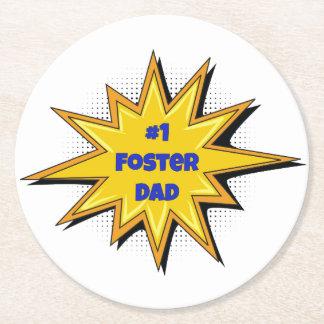 #1 Foster Dad Super Hero Design Round Paper Coaster