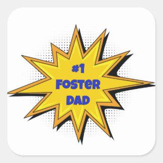 #1 Foster Dad Super Hero Design Square Sticker
