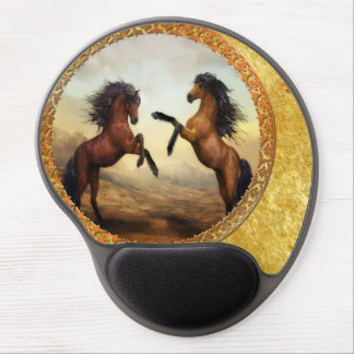 1 gold frame horses gel mouse pad