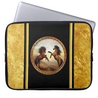 1 gold frame horses laptop sleeve
