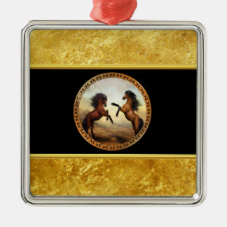1 gold frame horses metal ornament