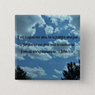 1 John 1:9 2 Inch Square Button