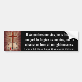1 John 1:9 Holy Bible King James Version Bumper Sticker