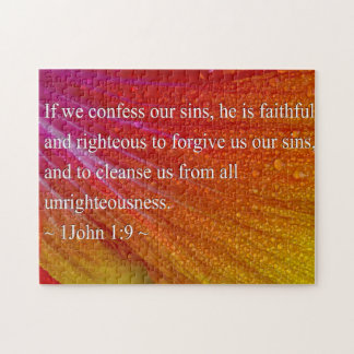 1 John 1:9 on Colorful Hibiscus Jigsaw Puzzle