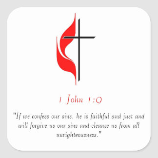 1 John 1:9 Square Sticker
