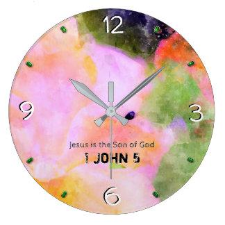1 John Chapter 5 -93 Large Clock