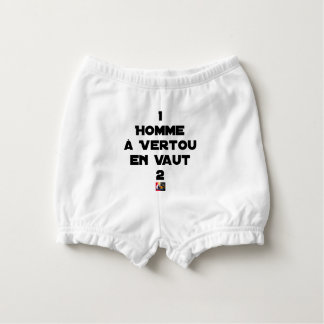 1 MAN WITH VERTOU IS WORTH 2 of THEM - Word games Diaper Cover