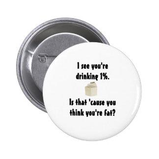 1% Milk 2 Inch Round Button