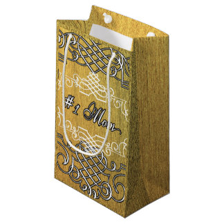 #1 mom Golden typography mother's day Small Gift Bag
