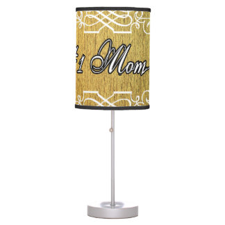 #1 mom Golden typography mother's day Table Lamp