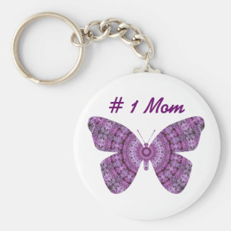 # 1 Mom, Purple fractal butterfly Keychain
