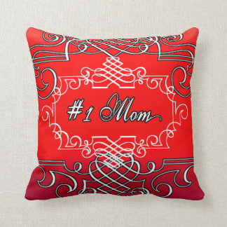 #1 Mom Red Typography Mother's day Throw Pillow
