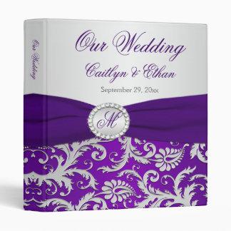 """1"""" Monogram Purple, Silver Damask Wedding Binder"""