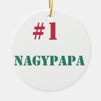 #1 Nagypapa Round Ceramic Ornament