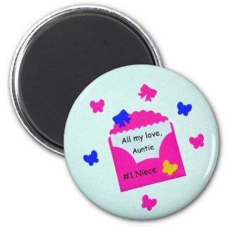 #1 Niece  All my love, Auntie 2 Inch Round Magnet