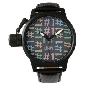 """# 1"" Pattern custom monogram watches"