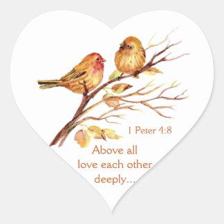 1 Peter 4:8 Love Each Other Deeply Scripture Birds Heart Sticker