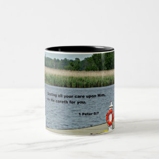 1 Peter 5:7 Casting all your care upon Him... Two-Tone Coffee Mug