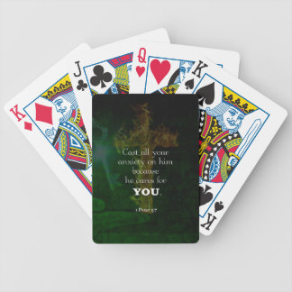 1 Peter 5:7 Uplifting Bible Verses Quote Bicycle Playing Cards