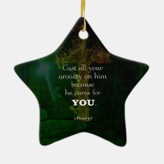 1 Peter 5:7 Uplifting Bible Verses Quote Ceramic Ornament