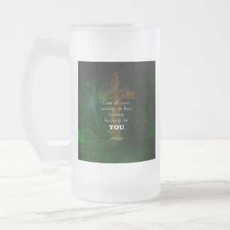 1 Peter 5:7 Uplifting Bible Verses Quote Frosted Glass Beer Mug