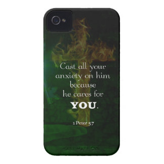 1 Peter 5:7 Uplifting Bible Verses Quote iPhone 4 Case-Mate Case